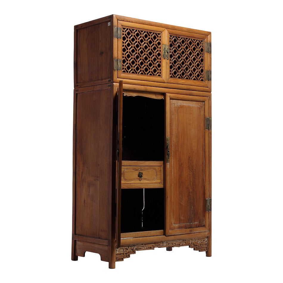Antique Large Kitchen Cabinet Armoire with Fretwork Top from 19th Century, China 3
