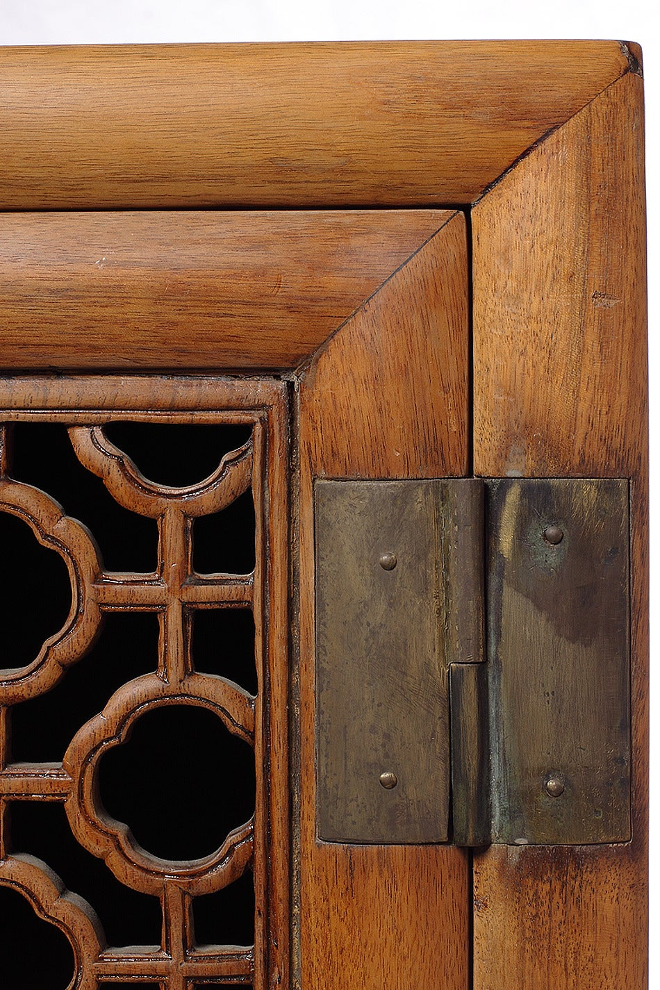 Antique Large Kitchen Cabinet Armoire with Fretwork Top from 19th Century, China 5