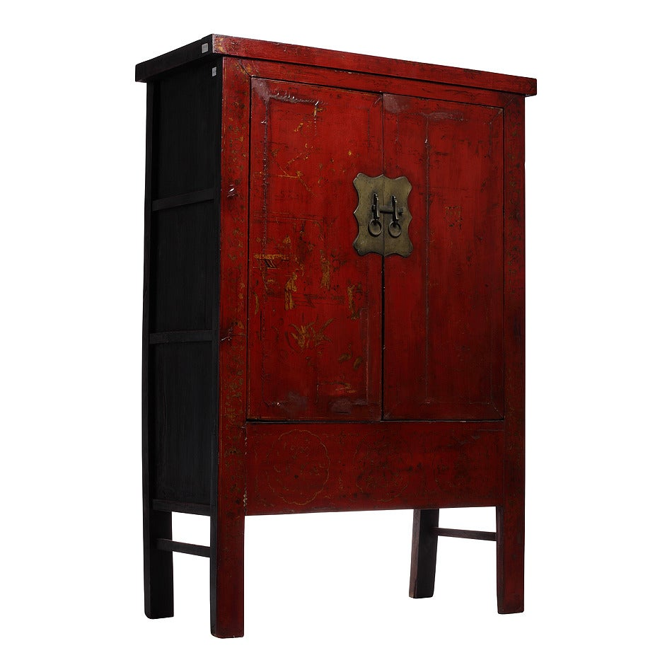 Chinese Hand-Painted Chinoiserie and Red Lacquer Armoire from China, 19th Century For Sale