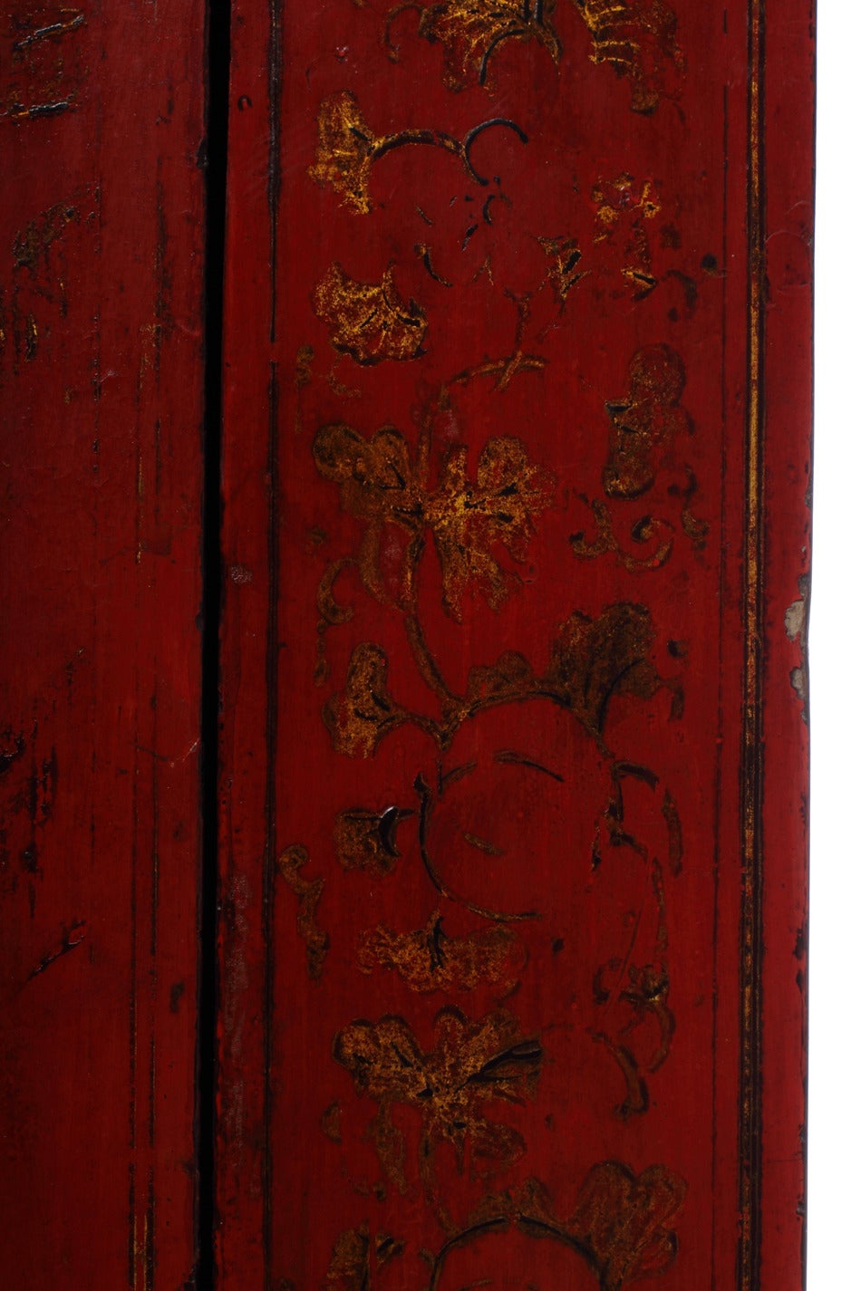 Lacquered Hand-Painted Chinoiserie and Red Lacquer Armoire from China, 19th Century For Sale