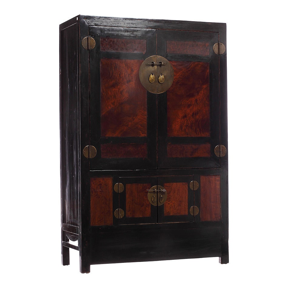 Antique Chinese Large Burl Wood Armoire Cabinet For Sale