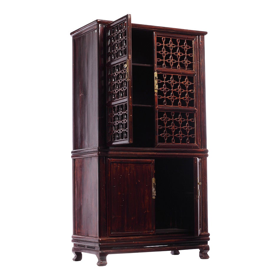 Chinese Kitchen Fretwork Cupboard Or Armoire At 1stdibs