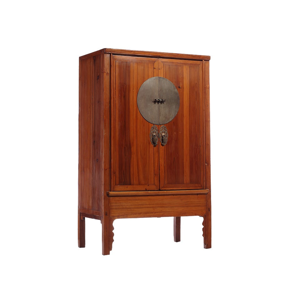 Wooden Furniture Hardware ~ Large elm wood armoire cabinet with round medallion