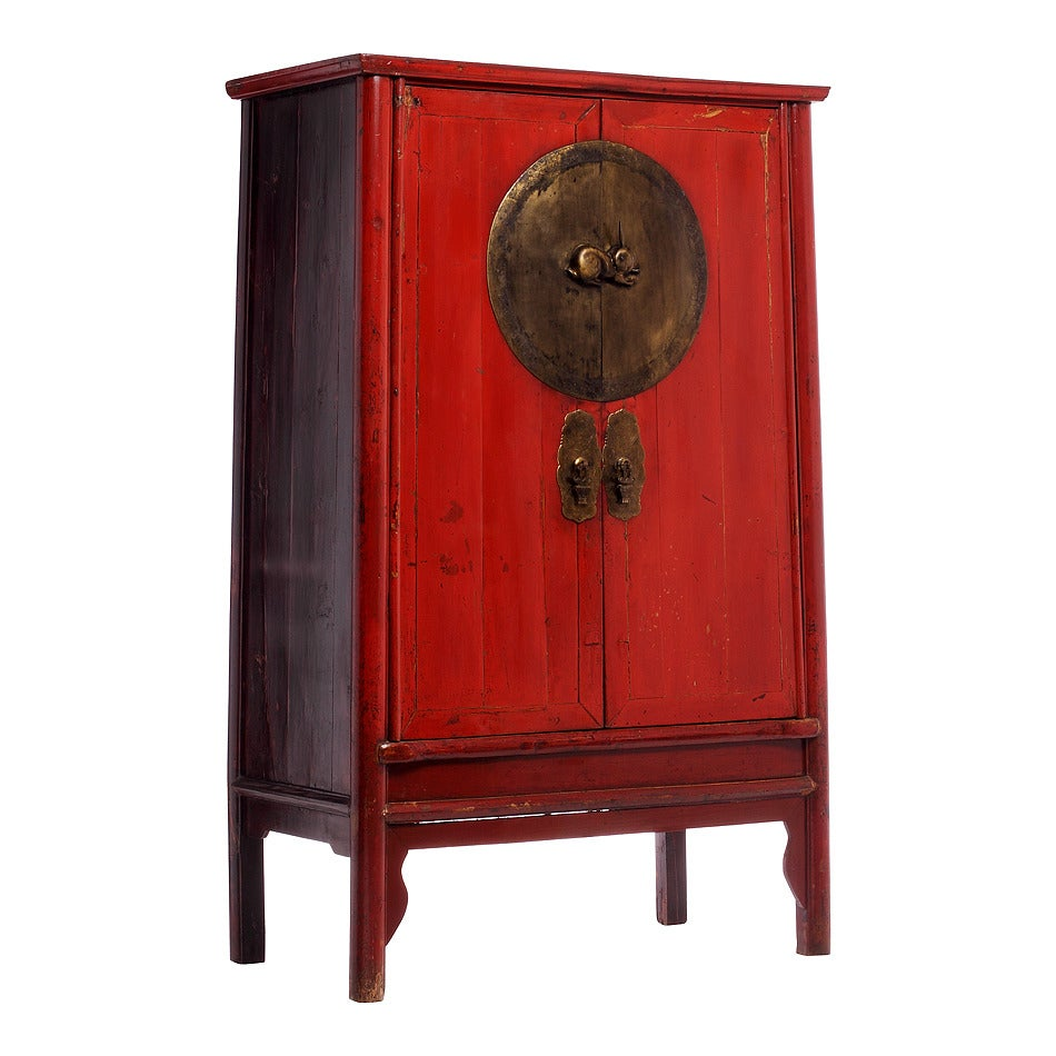 Antique chinese red wedding cabinet for sale at 1stdibs for Red chinese furniture