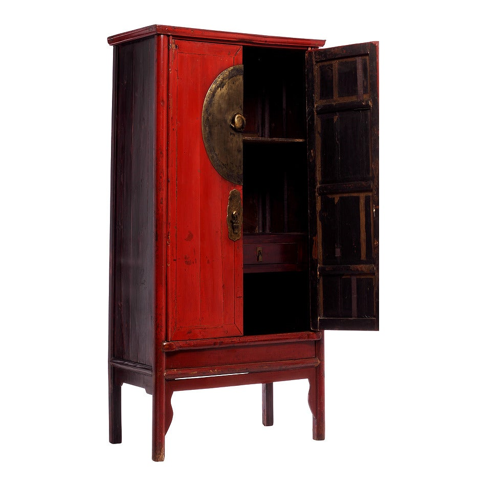 Antique chinese red wedding cabinet for sale at 1stdibs for Antique asian cabinet