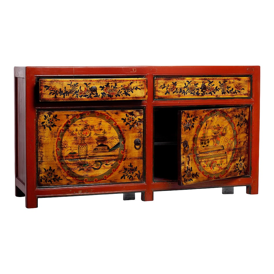 Mongolian Late 1800s Hand Painted Red Lacquer Cabinet With
