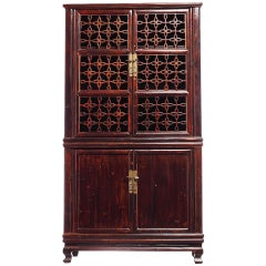 Elmwood Fretwork Chinese Kitchen Cupboard with Hardware from the 19th Century