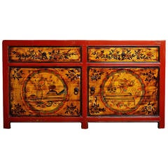 Mongolian Late 1800s Hand-Painted Red Lacquer Cabinet with Black and Gold Décor