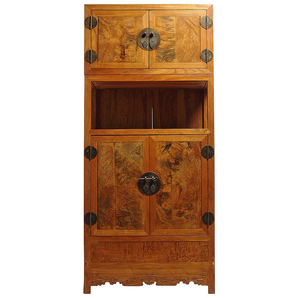Tall Two Section Burl Wood Cabinet With Four Doors For Sale