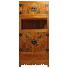 Tall Two Section Burl Wood Cabinet with Four Doors