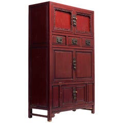 Red Lacquer Cabinet with Multiple Carved Doors from China, Mid-19th Century