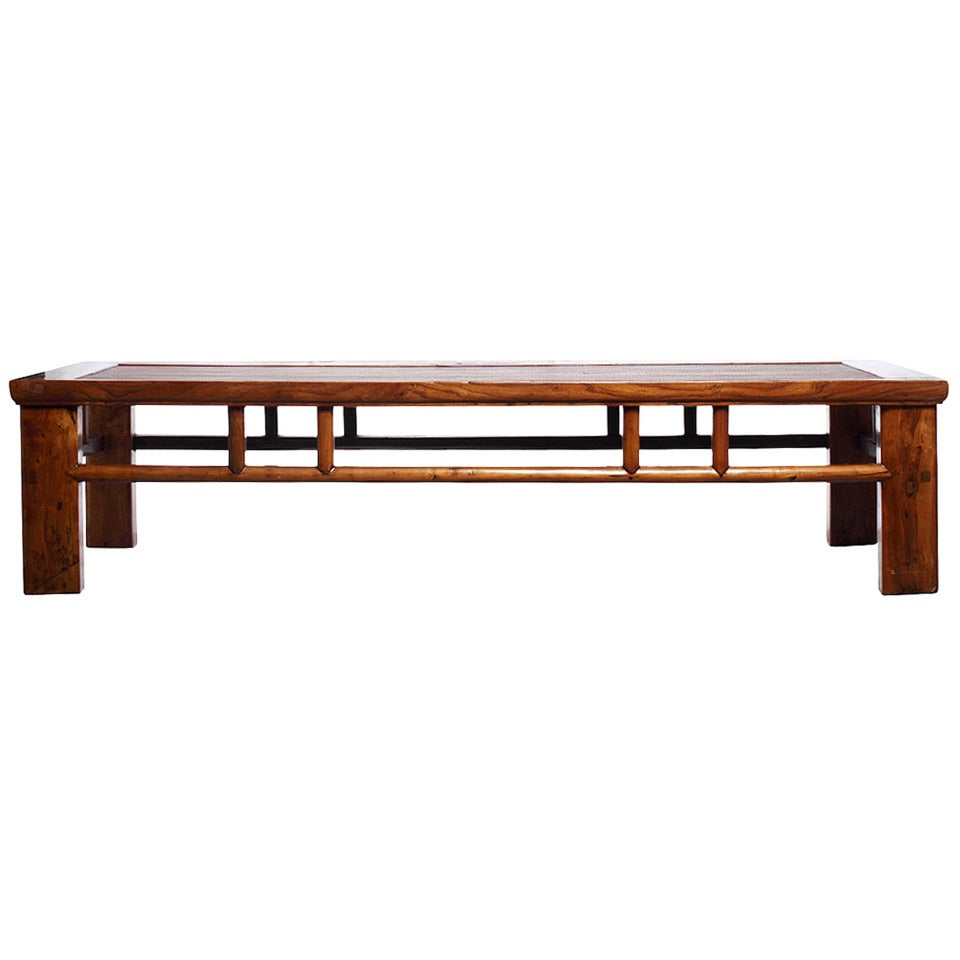 Elm And Wicker Long Rectangular Coffee Table For Sale At