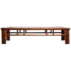 Antique Elm and Wicker Long Coffee Table from Southern China, Late 1800s