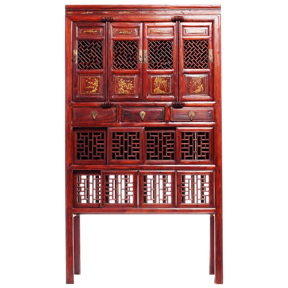 antique red lacquer chinese fretwork cabinet for sale antique red lacquer chinese fretwork cabinet at 1stdibs  rh   1stdibs com