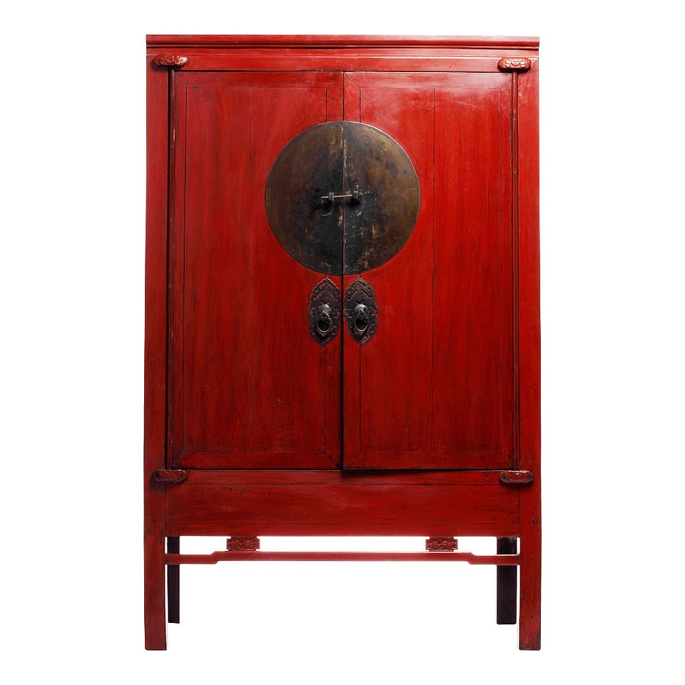 Antique Chinese Red Lacquer Wedding Cabinet 1