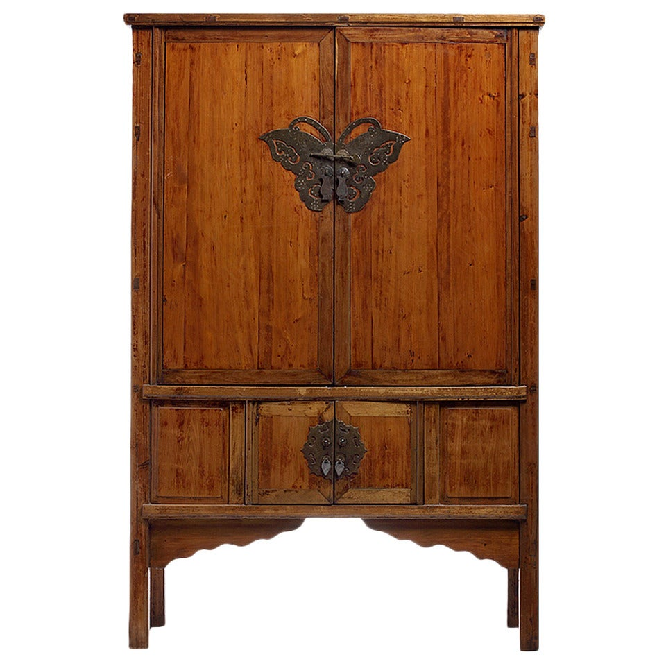 Antique Chinese Armoire Butterfly Hardware For Sale
