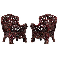 Pair of Contemporary Hand-Crafted Dark Azalea Root Armchairs from China
