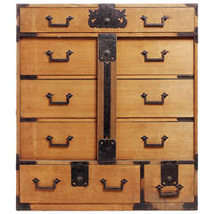 Antique Japanese Merchants Chest with Incised Iron Hardware from the Late 1800s
