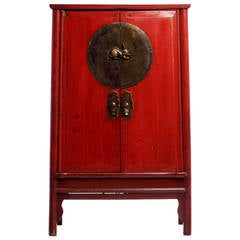Antique Red Wedding Cabinet with Rabbit Medallion from China, 19th Century