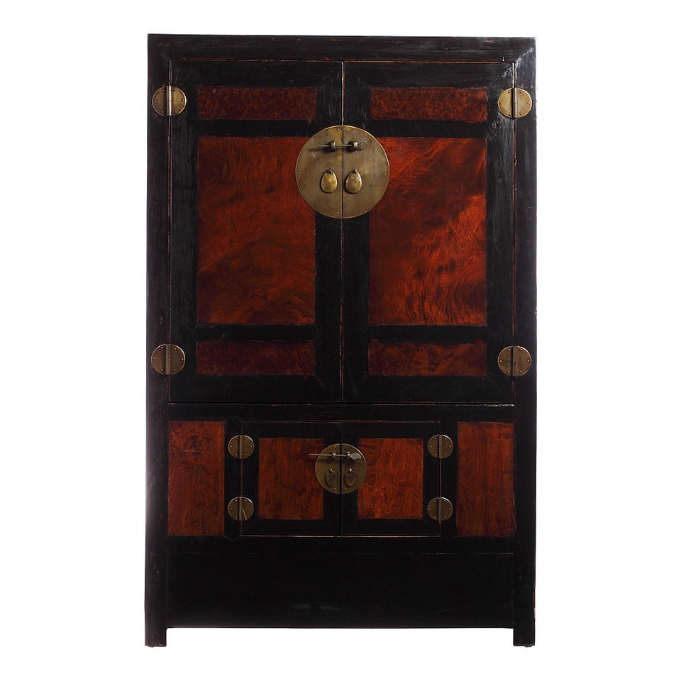 Antique Large Black Lacquer and Burl Wood Armoire from China, Late 1800s