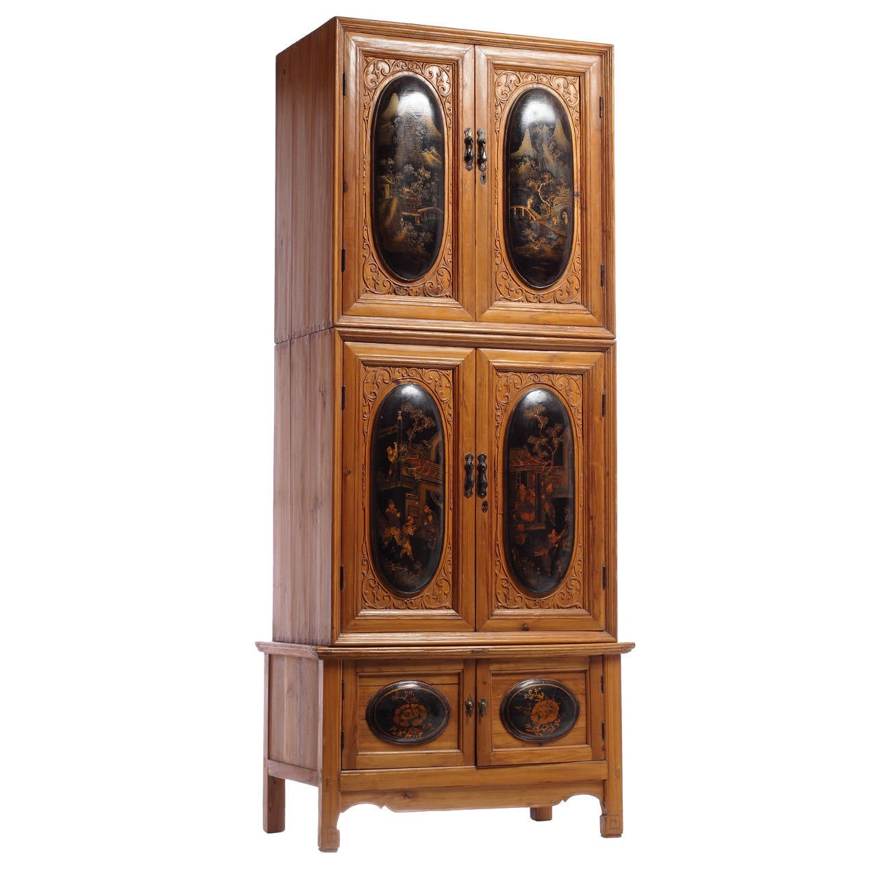 Large antique chinese cabinet with chinoiserie panels for for Antique asian cabinet