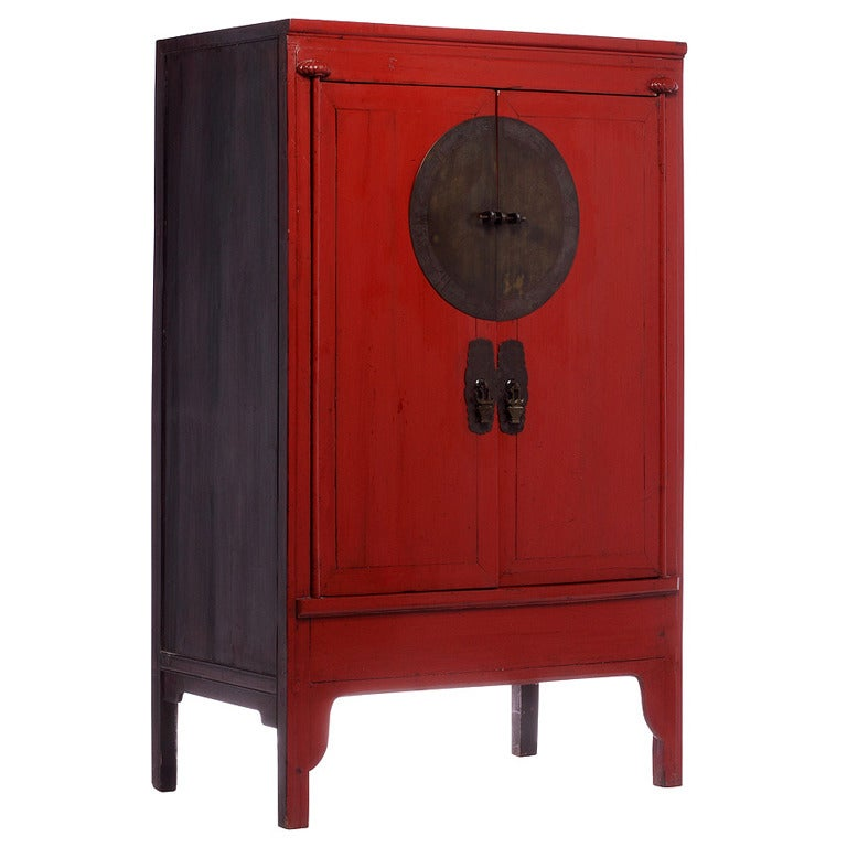 Antique Chinese Red Armoire Wedding Cabinet at 1stdibs - Chinese Red Armoire Wedding Cabinet At 1stdibs