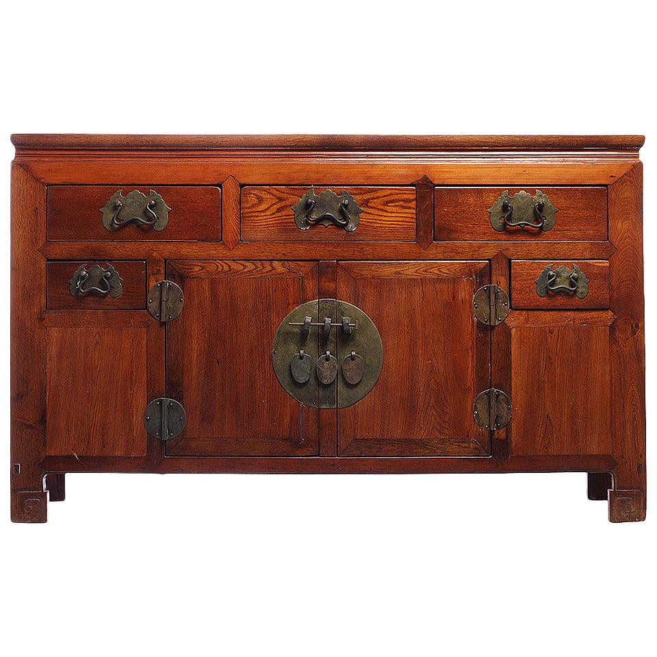 19th Century Chinese Buffet with Drawers, Doors and Traditional Iron Hardware For Sale