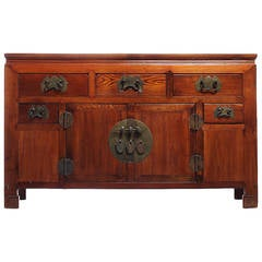 19th Century Chinese Buffet with Drawers, Doors and Traditional Iron Hardware