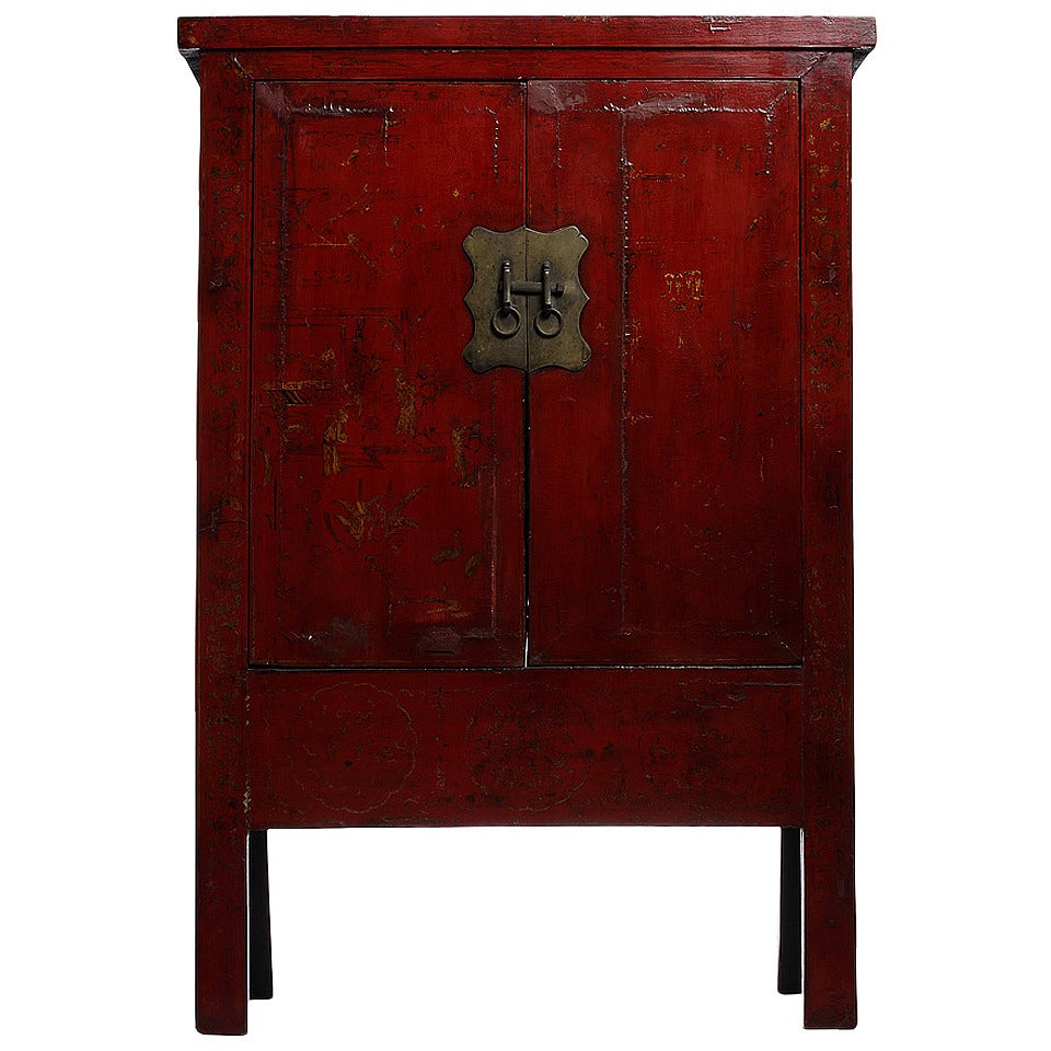 Hand-Painted Chinoiserie and Red Lacquer Armoire from China, 19th Century For Sale