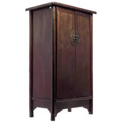 Antique Dark Lacquer Wedding Cabinet with Bronze from China, 19th Century