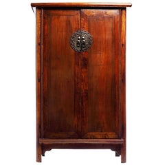 Large Armoire with Bronze Figure Medallion from 19th Century, China
