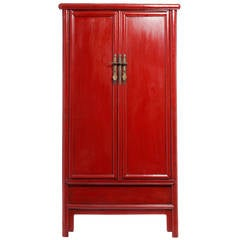 Tapered Red Lacquered Armoire with Noodle Top from 19th Century, China