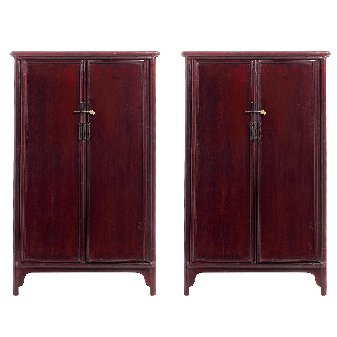 Pair of Chinese Side Cabinets with Red Patina from the Early 20th Century