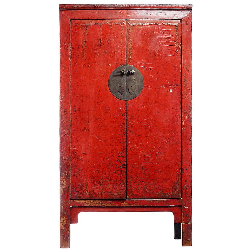 19th Century Chinese Large Red Lacquered Armoire with Iron Hardware