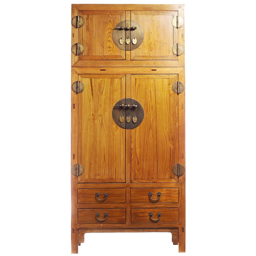 19th Century Large Natural Elmwood Compound Cabinet with Medallions from China