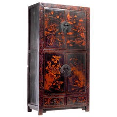Black Lacquered Cabinet with Hand-Painted Landscape from China, 19th Century