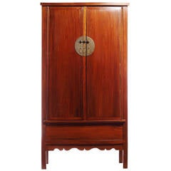 19th Century Chinese Large Elmwood Armoire with Metal Medallion Hardware
