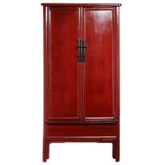 Large Red Lacquer Wedding Cabinet with Brass Hardware from China, 19th Century
