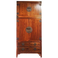 Large Oak Wood Compound Cabinet with Medallion from China, circa 1800