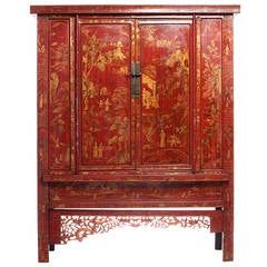 Large 19th Century Red Lacquer and Gold Chinoiserie Armoire from China