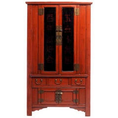 Tapered Red Lacquered Armoire With Noodle Top From 19th Century, China For  Sale At 1stdibs