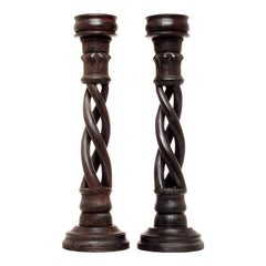 Pair of Vintage Indian Wooden Candlesticks with Spiral Design, 20th Century