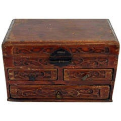 Chinese Red Brown Lacquer Jewelry Box with Iron Hardware, Early 20th Century