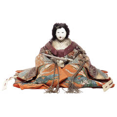 Japanese Taisho Doll with Silk Clothing and Powdered Face, Early 20th Century