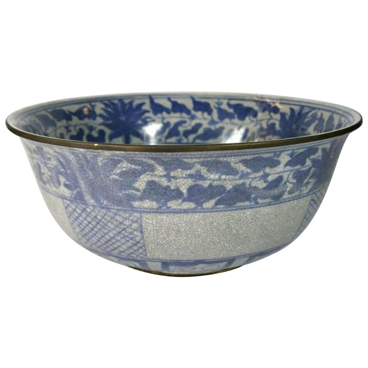 Blue and White Crackle Patina Porcelain Wash Basin from, China, 20th Century