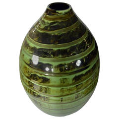 Artisan Large Incised Green Glaze Ceramic Vase from Thailand, 20th Century