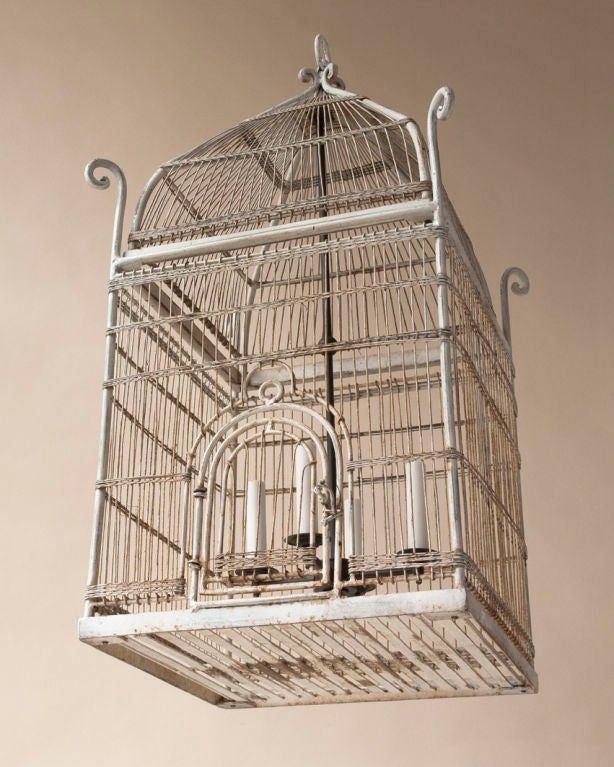 orientaliste style white painted metal bird cage. Black Bedroom Furniture Sets. Home Design Ideas