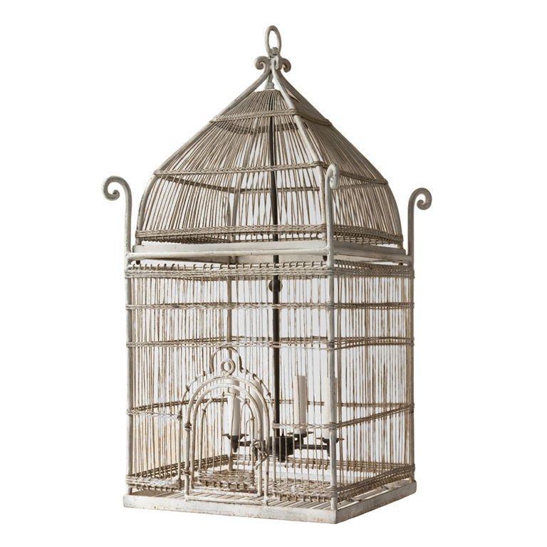 Orientaliste Style White Painted Metal Bird Cage