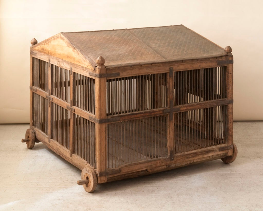 Large Antique Asian Wood And Iron Bird Cage Quilted Metal