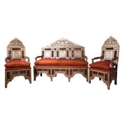 Set of Ottoman Furniture with Mother of Pearl Inlay